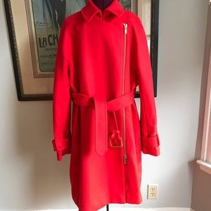J.Crew red Melton wool trench